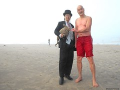 Dr. Takeshi Yamada and Seara (Coney Island Sea Rabbit) at the winter swimming event by the Coney Island Polar Bear Club at the Coney Island Beach in Brooklyn, New York on January 10 (Sun), 2015.  20160110Sun DSCN3345=5040pC1. Iwasaki-san (searabbits23) Tags: winter ny newyork sexy celebrity art beach fashion animal brooklyn asian coneyisland japanese star yahoo costume tv google king artist dragon god cosplay manhattan wildlife famous gothic goth performance pop taxidermy cnn tuxedo bikini tophat unitednations playboy entertainer samurai genius donaldtrump mermaid amc mardigras salvadordali billclinton hillaryclinton billgates aol vangogh curiosities bing sideshow jeffkoons globalwarming takashimurakami pablopicasso steampunk damienhirst cryptozoology freakshow barackobama polarbearclub seara immortalized takeshiyamada museumofworldwonders roguetaxidermy searabbit ladygaga climategate