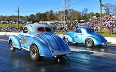 Classic Willys Gassers dueling at Greer (Thumpr455) Tags: auto november blue classic car automobile southcarolina finals ag autoracing wheelstand dragracing willys wheelie greer 2015 gassers grandillusion agas worldcars greerdragway quainstott themoonlighter genecromer southeastgassers