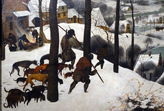 Bruegel the Elder, Hunters in the Snow (Winter), detail with hunters