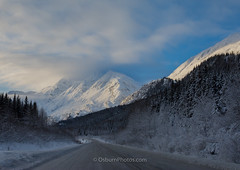 Sunset on snow toward Keystone Canyon (wolphcry) Tags: mountain snow alaska valdez richardsonhighway thompsonpass
