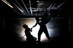Finish (mikkowaeder) Tags: light silhouette university flag oulu catacombs tekken strobist