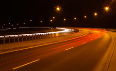 Night Road 2 (Siuloon) Tags: road light building architecture night composition stars outdoor poland polska structure freeway infrastructure warsaw warszawa