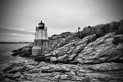 I could sit here all day (Silverio Photography) Tags: ocean light blackandwhite lighthouse castle monochrome photoshop canon island rocks hill newengland sigma newport elements rhode 1770 hdr topaz adjust 60d