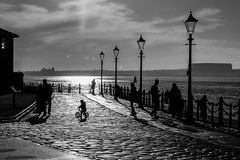 Biker (alancookson) Tags: bw bike silhouette liverpool river mersey pierhead albertdock fujixt1110116