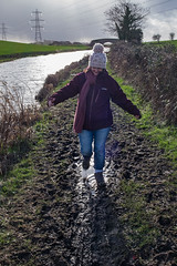 Muddy puddles (Mister Oy) Tags: walking puddle mud hiking walk rainy lancaster wife recreation raining muddy towpath davegreen rainydays lancastercanal muddyboots oyphotos oyphotos muddywife