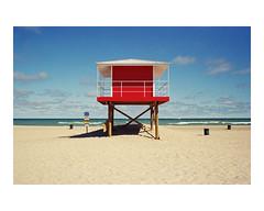 (williamhess) Tags: travel summer lake film beach 35mm landscape photography sand kodak indiana lifeguard lakemichigan contax g2 filmsnotdead istillshootfilm