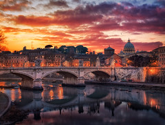 Lucky to call it Home (Massimo Cuomo Photography) Tags: bridge blue sunset sky italy sun rome color roma reflection art night clouds digital river photography golden nikon lab san europe tramonto cityscape view dusk f14 sigma ponte hour cupola tevere angelo 35 sant massimo pietro d800 blending cuomo