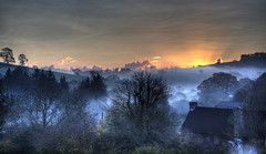 Nuclear Winter (rmrayner) Tags: morning trees winter sunset sky panorama sun mist fog clouds landscape countryside oak frost farm silhouettes devon rays hdr 3xp