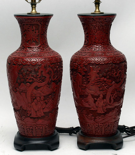 Chinese Cinnabar Pair of Table Lamps - $770.00 (Sold October 2, 2015)
