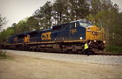I can only dream (builder24car) Tags: locomotives conductor csx sline railfanning benchingthefreights moncurenorthcarolina csx7303 csx3351