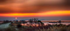 Spring Sunset over the lake (frederic.gombert) Tags: light sunset orange sun lake color green colors de grey spring mediterranean marignane etang saltpan berre