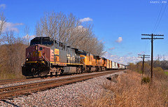 """Southbound Manifest in Birmingham, MO (""""Righteous"""" Grant G.) Tags: railroad up electric train code pacific general telephone south union railway trains line pole southern sp missouri locomotive ge freight southbound manifest espee"""