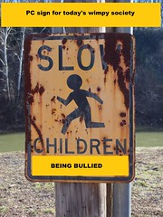 faded sign - being bullied (photography_isn't_terrorism) Tags: playing sign yellow pc rust rusty oldschool faded rusted stickfigure childrenatplay stickfigures wimpy stickfigureinperil bullying fadedsign childrenplaying wimps