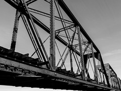 Tempe Town Lake Rail Bridge (Ascott4680) Tags: railroad bridge arizona lake train town rail blacknwhite choochoo tempe