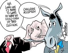 0416 challenge accepted cartoon (DSL art and photos) Tags: election politics presidential cruz donaldtrump republican democrats editorialcartoon 2016 donlee kasich