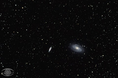 M81 - Bode's Galaxy and M82 = Cigar Galaxy (Dark Arts Astrophotography) Tags: ontario space cigar kingston galaxy astrophotography astronomy dso bodes astrometrydotnet:status=solved astrometrydotnet:id=nova1496093