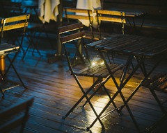 Rain rain rain (krkojzla) Tags: wood blue rain yellow night analog vintage lights bokeh sony retro rainy woodentable sonynex3n