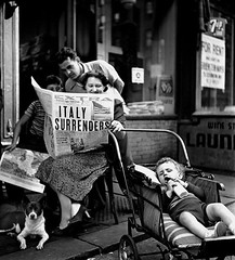 """Italy Surrenders"" - A family happily reads the news in an issue of New York Journal American newspaper. New York, New York, September 1943- Photo by Fred Stein [850  941] #HistoryPorn #history #retro http://ift.tt/1UJuQLM (Histolines) Tags: new york family news history by photo newspaper journal reads an retro september american fred timeline stein issue 1943 850 happily  941 vinatage a historyporn italysurrenders histolines httpifttt1ujuqlm"