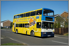 Blue sky, blue air, and hand gestures! (Jason 87030) Tags: road charity camera blue sky man public yellow volvo hand shot transport northamptonshire picture wave sunny tesco fave views headlands driver passenger van alpha amateur job nurses northants rd d2 doubledecker gestures decker mariecurie olympian daventry ilce burnsroad tossco sonya6000