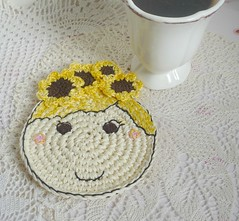 sunflower girl crochet coaster4 (MonikaDesign) Tags: handmade crochet sunflower happyface homedecor tabledecor kitchendecor crochetdoll crochetart crochetcoasters monikadesign