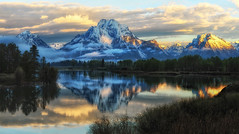 First Light at Oxbow in June (Jeff Clow) Tags: morning summer usa reflection nature sunrise landscape western oxbowbend jacksonholewyoming