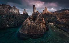 Gueirua's Spikes II (Tomasz Raciniewski) Tags: santa sunset sea sky seascape clouds marina landscape spain rocks sigma asturias 1020 cpl cantabrico d3200 gueirua