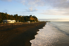Morning has broken (Karen Pincott) Tags: autumn sea newzealand beach water dawn coast seaside waves outdoor shore foam napier hawkesbay bluffhill