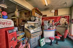 _DSC9446 Antiques (Charles Bonham) Tags: clock sign americanflag sprite coke nostalgia 1950s jukebox antiques pepsi cocacola antiquestore sodafountain cocacolasign rockola baycitymi charlesbonhamphotography spriteclock