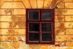 Brasov Window II (PM Kelly) Tags: old red window yellow paint crack romania fade crumble peel brasov dwwg