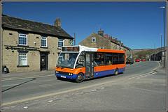 High Peak 378, Glossop (Jason 87030) Tags: road street camera orange bus stone buildings shot derbyshire picture bluesky fave solo views april amateur bizarre glossop 390 chemist whitfield cohens 2016 optare sonya6000