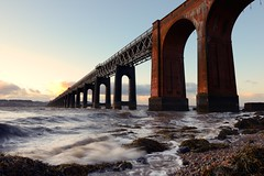 A windy day on the River Tay (Tay Rail Bridge) (iancowe) Tags: sunset storm brick train evening scotland pier waves rivertay fife dundee steel victorian scottish engineering tay shore disaster span girders girder tayrailbridge wormit tayrailwaybridge