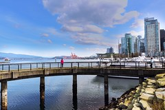 Coal harbor landscape (yuanxizhou) Tags: ocean sky water skyline vancouver pier duck downtown shoreline serene seashore coalharbor landscapephotography beautifulbritishcolumbia