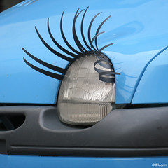 Beautiful Eyelashes (Artsy Blueem) Tags: street car funny strada eyelashes macchina divertente ciglia