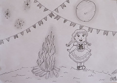 ilustração_festa junina_mayara vellardi (mayara_vellardi) Tags: arte ilustração desenho caipirinha fogueira festajunina bandeirinhas lapisepapel