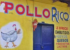 Banos, Ecuador - Pollo Rico (zorro1945) Tags: chicken southamerica sign shop cheese store ecuador andes eggs cocacola pollo banos huevo yellowsign quesos