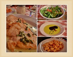 It's What's For Lunch! (✿☼Hot & Humid-Whew!!!☼✿) Tags: food chicken collage tomato restaurant salad italian warm famous delicious bucadibeppo oliveoil balsamicvinegar limone spinach capers eatery rigatoni wk2 breakfastlunchdinner maranara saturdaytheme theflickrlounge