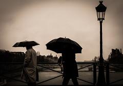 Rainy Day (Matthieu Manigold) Tags: street bridge white black paris france monochrome rain umbrella nikon day noiretblanc streetphotography pluie rainy pont parapluie