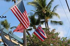 The flags of the USA and the state of Hawaii in Kona (Hazboy) Tags: vacation usa west america island hawaii us big october state flag bandera western flagg aloha kona kailua 2016 hazboy hazboy1