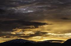 Le Snaefellsjökul, Fuji Yama islandais,1446 m.  The Snaefellsjökul, Islandic Fuji Yama. (Larch) Tags: autumn sunset sky orange cloud mountain fall montagne automne vent volcano iceland wind glacier ciel coucherdesoleil islande volcan snaefellsnes snaefellsjökul
