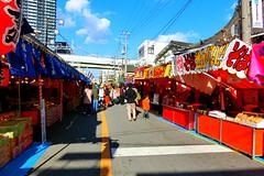 food stalls, Imamiyaebisu, Osaka (jtabn99) Tags: street food shrine stall nippon osaka  naniwa   imamiyaebisujinja 20160109