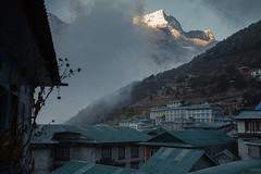 Namche Bazar is still sleeping (Indrik myneur) Tags: houses clouds sunrise roofs khumbu namchebazar tealbackground