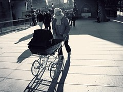 The good old fashion way (The Ultimate Photographer) Tags: street london tower canon blackwhite buggy grannie