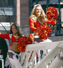 A Brunette and a Blonde (Colorado Sands) Tags: ladies people woman usa beautiful smiling female america us football women colorado cheerleaders unitedstates nfl denver parade celebration babes chaps afc americanfootball 2016 denverbroncos victoryparade professionalfootball prosports superbowlchampions profootball americansports sandraleidholdt superbowl50