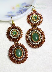 Maya Earrings (BeeJang - Piratchada) Tags: red green gold handmade embroidery earring jewelry bollywood swarovski earrings miyuki beading beadwork chaton aventurine montee beadweaving cupchain