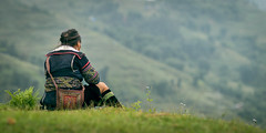 Busy (luca.fiorentini) Tags: travel flowers autumn light people woman mountains flower color travelling green fall nature girl landscape asian happy photography photo nikon asia raw sitting cloudy photos bokeh outdoor calm sapa hmong 135mm individuals defocus f32 lowiso