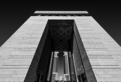 Monolith - Dubai, UAE - Nikon D800 (Sparks_157) Tags: city urban blackandwhite monochrome skyline architecture skyscraper buildings concrete nikon dubai cityscape arch uae perspective wideangle structure symmetry arabia handheld emiratestowers amit buidling darksky d800 worldtradecentre difc 1424mmf28g thegatebuilding amitkar