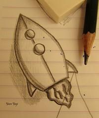 Drawing the diagrams (Yara Yagi) Tags: origami rocket cohete foguete
