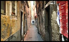 Most beautiful colors of Venice (VillaRhapsody) Tags: venice winter italy man colors alley travels peeling alone decay venezia narrow venedig distant lonesome citytrip challengeyouwinner