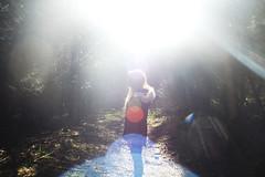(nic lawrance) Tags: trees light people sun nature girl standing woodland shadows shine bright path corona figure