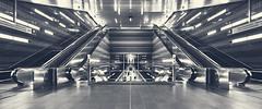 metro station berseeboulevard (digital_underground) Tags: bw monochrome station zeiss germany deutschland metro sony hamburg escalator ubahn alpha blacknwhite schwarzweiss hafencity rolltreppe a6000